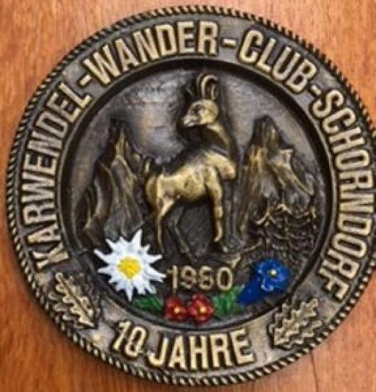 KARWENDEL-WANDER-CLUB-SCHORNDORF 10 JAHRE 1980 BRONZ DUVAR TABAK