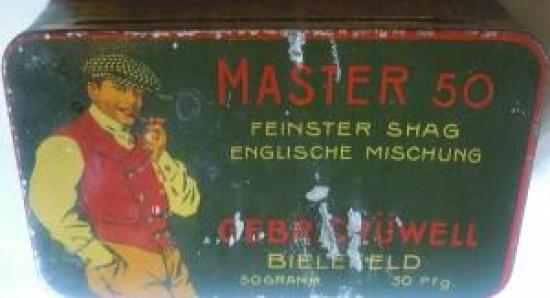 TENEKE KAPAKLI TÜTÜN KUTU MASTER 50 FEINSTER SHAG ENGLISCHE MISCHUNG