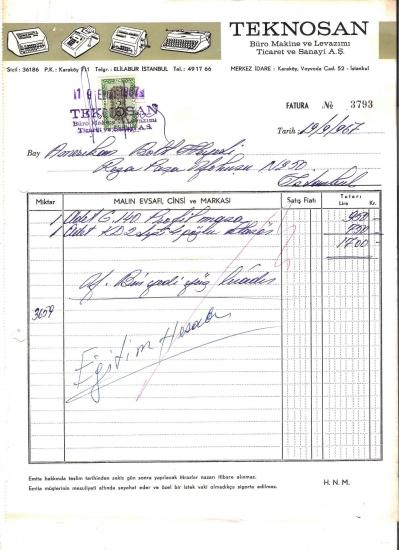 1967  İSTANBULDA TEKNOSAN KESİLMİŞ 1700 LİRALIK FATURA