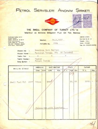 1967 İSTANBULDA PETROL SHELL KESİLMİŞ 1050 LİRALIK  FATURA
