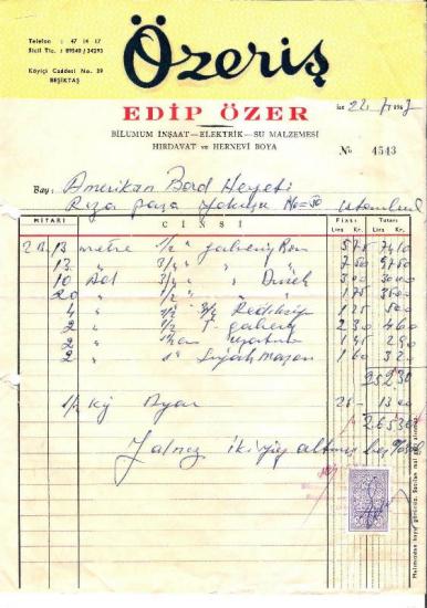 1967 İSTANBULDA ÖZERİŞ HIRDAVAT  KESİLMİŞ 265.30 LİRALIK FATURA