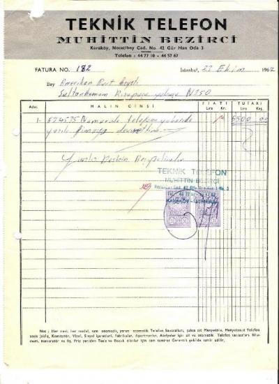 1967 İSTANBULDA TEKNİK TELEFON KESİLMİŞ 5500 LİRALIK FATURA