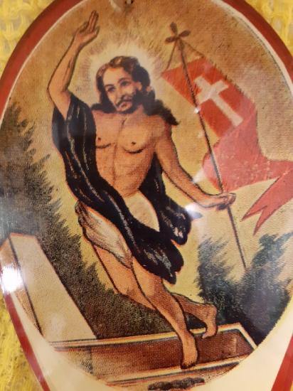 HAZRETİ İSA NIN CANLANIP GÖGE CIKIŞINI ANLATAN METAL DUVAR SÜSÜ