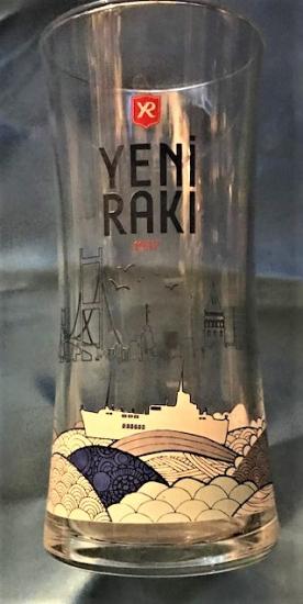 YENİ RAKI 1937 İSTANBUL RESİMLİ CAM RAKI BARDAGI ORJİNAL