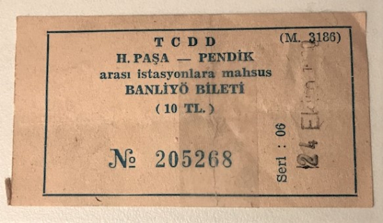 TCDD HAYDARPAŞA PENDİK ARASI İSTASYONLARA MAHSUS BANLİYO BİLETİ 10 TL  24 EKİM 1980