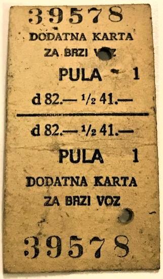 DODATNA KARTA  ZA BAZI VOZ YUGOSLAVYA KARTON TREN BİLETİ