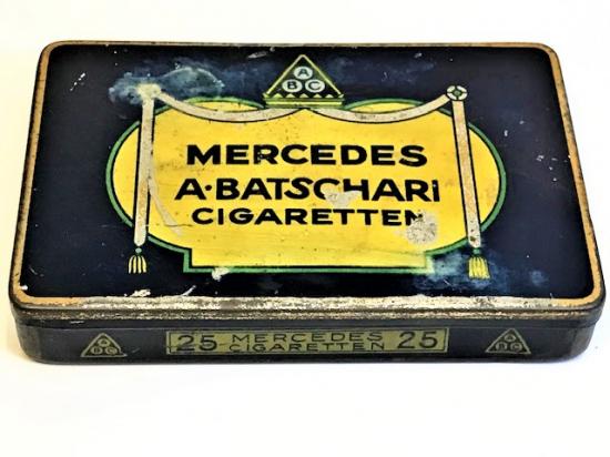 1920 MERCEDES A. BATSCHARI CIGARETTEN TENEKE SIGARA KUTU