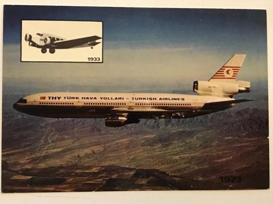 TÜRK HAVA YOLLARI DC 10 TİPİ  UCAK TURKISH  AIRLINES THY KARTPOSTAL