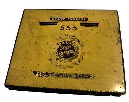 STATE EXPRESS 555 CIGARETTE TIN, 'SPECIALLY PACKED FOR AIR INDIA', VERY GOOD TENEKE BOŞ KUTU