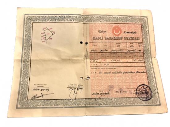 1967  TARİHLİ TURKİYE CUMHURİYETİ  CAPLI TASARRUF VESİKASI