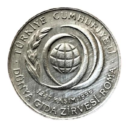 13-17 KASIM 1996 DUNYA GIDA ZİRVESİ ROMA  50 BİN LİRA1996 YILI HATIRA PARA