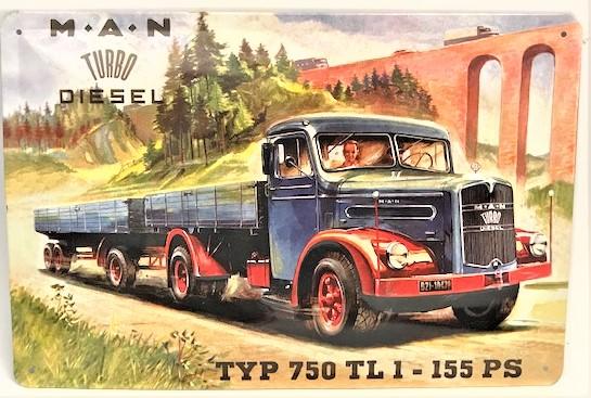 M.A.N TURBO DIESEL TYP 750 TL 1-155 PS  KABARTMA TENEKE  KAMYON TABELA