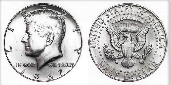 UNIDET STATES AMERİCA HALF DOLLAR 1967 LİBERTY KENNEDY COIN USA CİRCULATED MONEY % 40 GÜMÜŞ % 60 BAKIR KARIŞIMINDANDIR