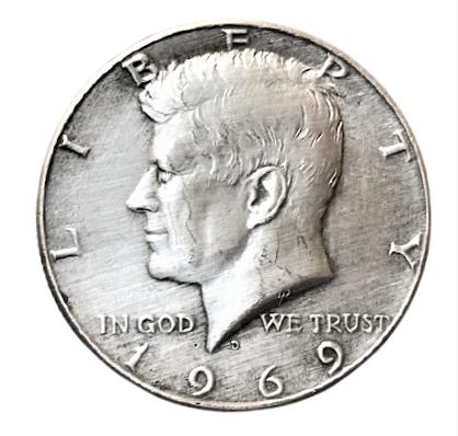 UNIDET STATES AMERİCA HALF DOLLAR 1969 LİBERTY KENNEDY COIN USA CİRCULATED MONEY