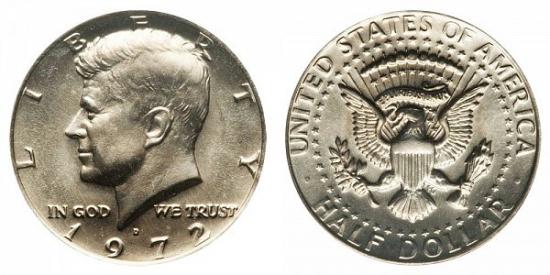 UNIDET STATES AMERİCA HALF DOLLAR 1972 LİBERTY KENNEDY COIN USA CİRCULATED MONEY