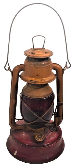 LAMBA TREN HAREKET GAZLA CALIŞAN FİTİLLİ KIRMIZI CAMLI YOL FENERİ NO.350 S.D.C.G & E.C.O TREN OİL LAMP
