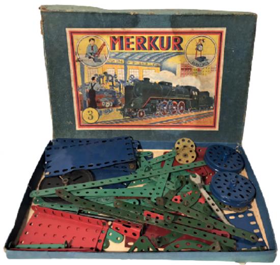 1925 MERKUR ELEKTRUS 3 NUMARA KARTON KUSUSUNDA METAL LEGO TAKIMI CEK CUMHURİYETİ MALI