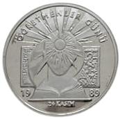 1989 YILINDA 24 KASIM ÖGRETMENLER GÜNÜ ANISINA CIKARILMIŞ  GÜMÜŞ 20000 LİRA