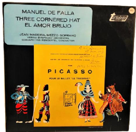 PICASSO MANUEL DE FALLA THREE CORNERED HAT EL AMOR BRUJO 33 LP PLAK ORJİNAL BASKI