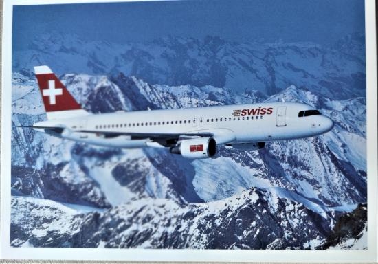 AIRBUS A320 SWISS AIR YOLCU UCAGI KARTPOSTAL