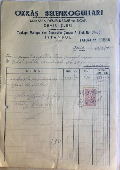 1960 OKKAŞ BELENKOĞULLARI TARAFINDAN KESİLMİŞ FATURA