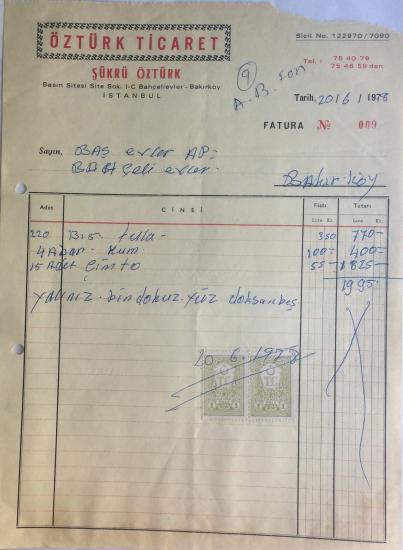 1978 ÖZTÜRK TİCARET ŞÜKRÜ ÖZTÜRK TARAFINDAN KESİLMİŞ FATURA