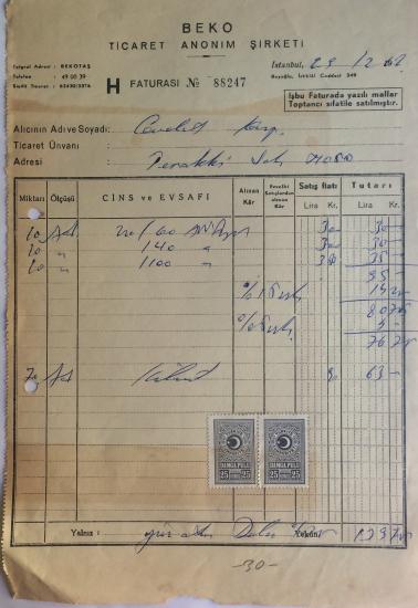1962 TARİHLİ BEKO TİCARET ANANİM ŞİRKETİ TARAFINDAN KESİLMİŞ FATURA