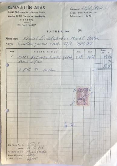 1960 KEMALETTİN ARAS İNŞAAT MALZEMESİ TARAFINDAN KESİLMİŞ FATURA