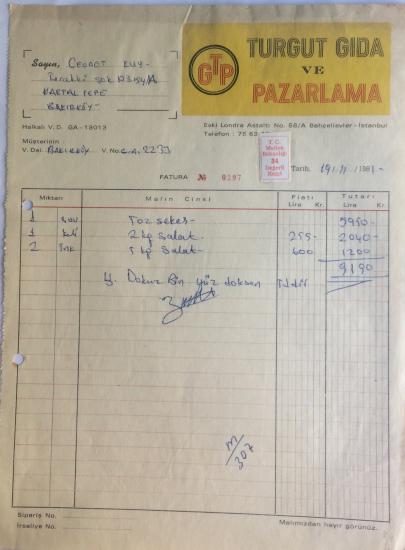 1981 TURGUT GIDA VE PAZARLAMA TARAFINDAN  NO : 0297  KESİLMİŞ FATURA
