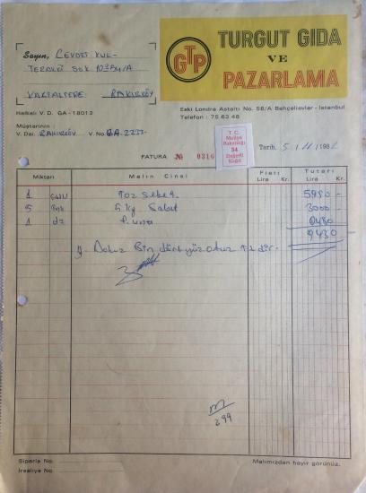 1981 TURGUT GIDA VE PAZARLAMA TARAFINDAN  NO : 0316  KESİLMİŞ FATURA