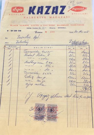 1978 DYO BOYALARI KAZAZ NALBURİYE MAĞAZASI TARAFINDAN KESİLMİŞ FATURA