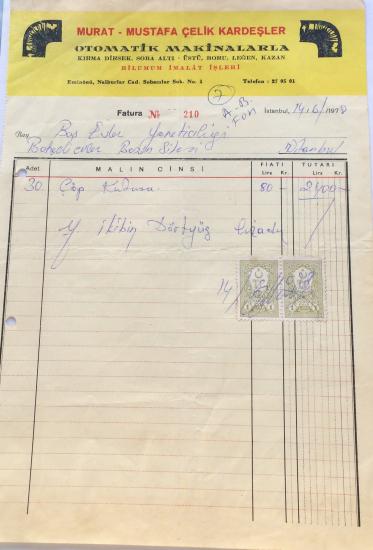 1978 MURAT - MUSTAFA ÇELİK KARDEŞLER TARAFINDAN KESİLMİŞ FATURA