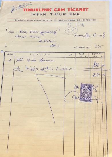1978  TİMURLENK CAM TİCARET İHSAN TİMURLENK TARAFINDAN KESİLMİŞ FATURA