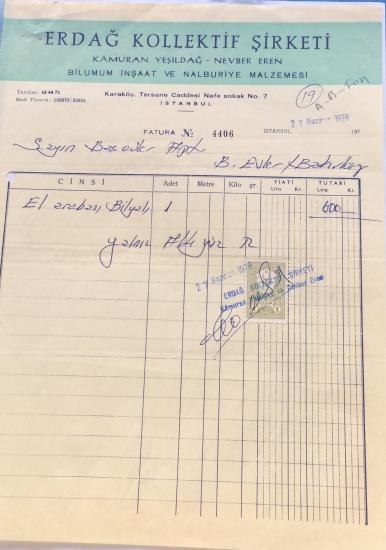 1978 ERDAĞ KOLLEKTİF ŞİRKETİ TARAFINDAN KESİLMİŞ FATURA
