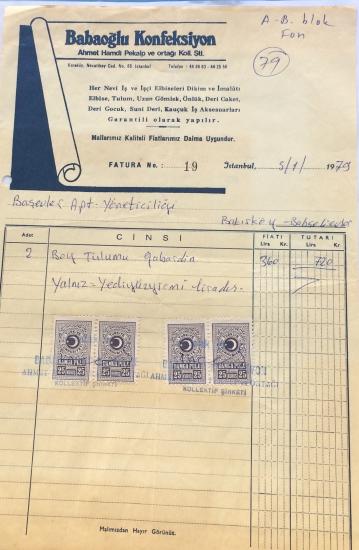 1979 BABAOĞLU KONFEKSİYON TARAFINDAN KESİLMİŞ FATURA