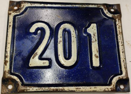 201 NUMARA SOKAK DIŞ KAPI NUMARASI LACİVERT KENARLARI BEYAZ YAZILI NUMARA